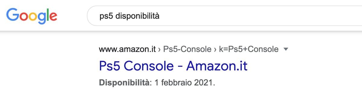PS5 Amazon Italia